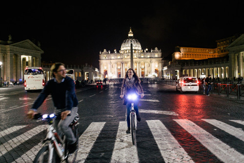 A holy ride to St. Peter's Square at night.