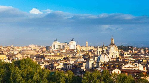Enjoy an impressive view over Rome from the top of the Janiculum Hill